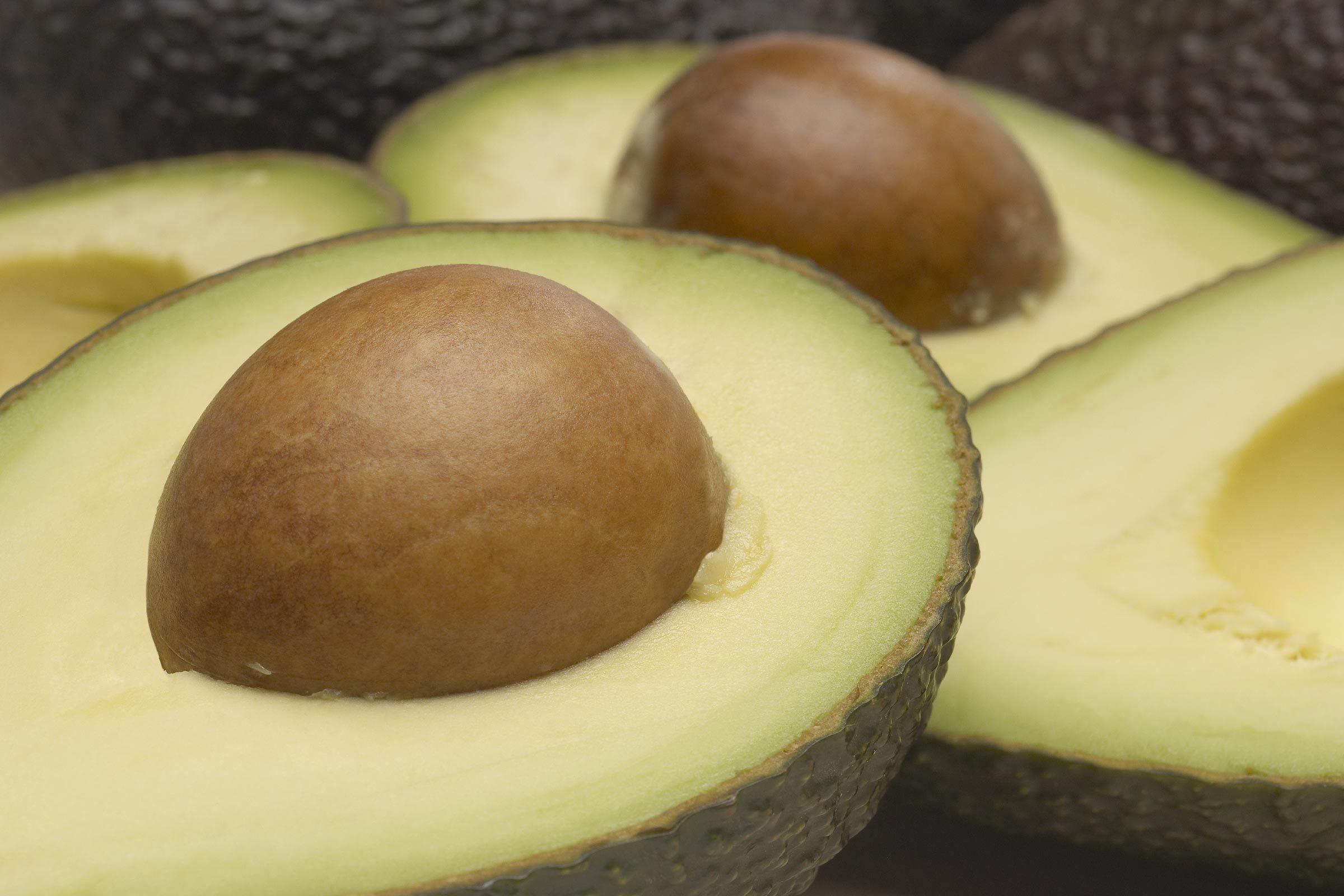 Studio of halved avocados