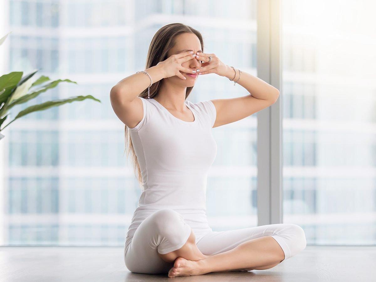 Bee breath breathing exercise for chronic pain - yoga pose