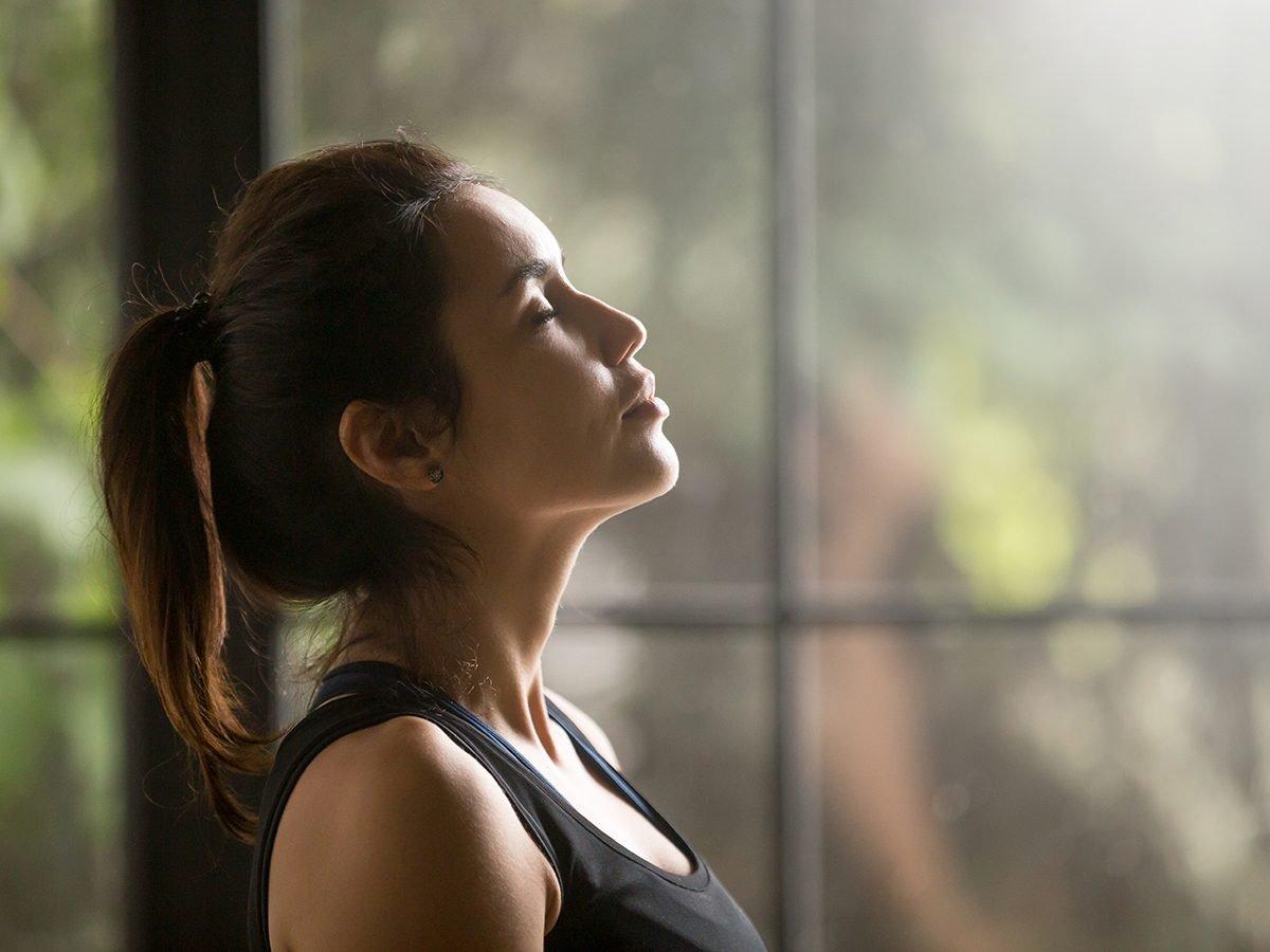 Breathing techniques for pain management - woman