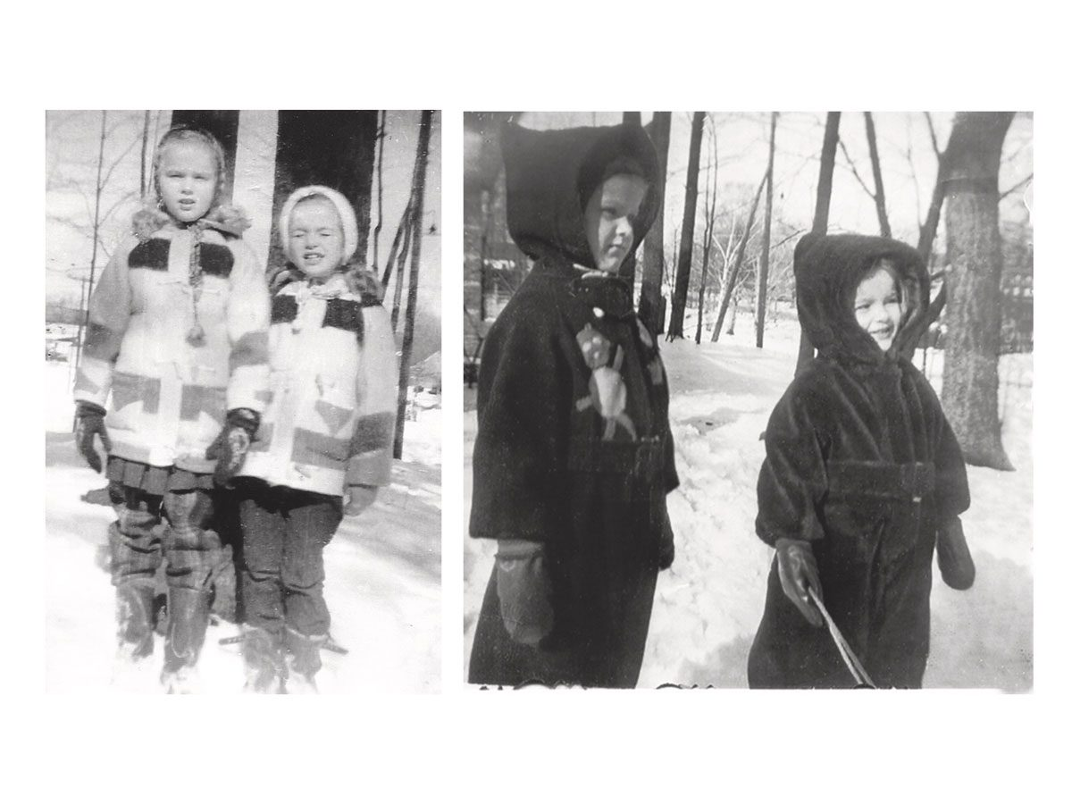 Patricia and Kathleen sporting jackets and snowsuits made by their dad