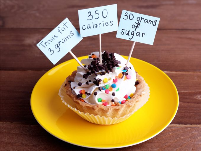 Cupcake with calorie and sugar count labels