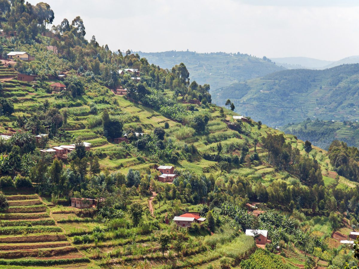 A steep hill in the Muvumba river valley in Rwanda