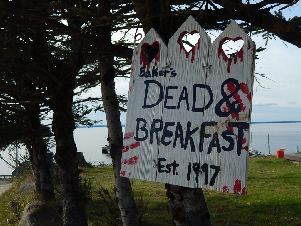 "Sign that reads: ""Dead and Breakfast"""