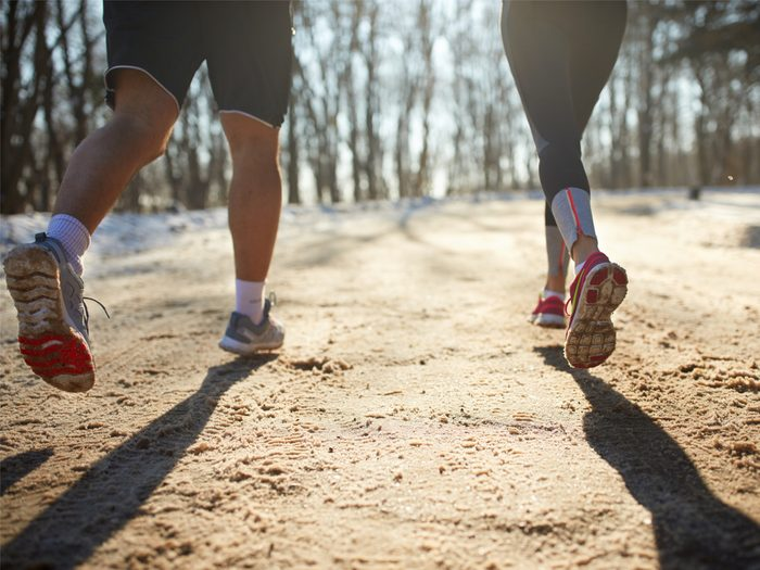 Two people jogging