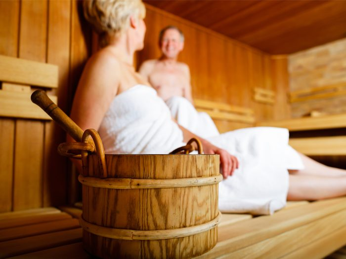A couple in a sauna