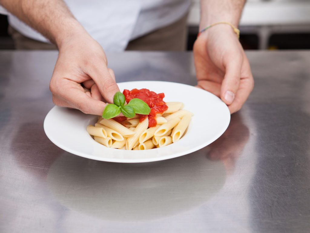 A small plate of penne