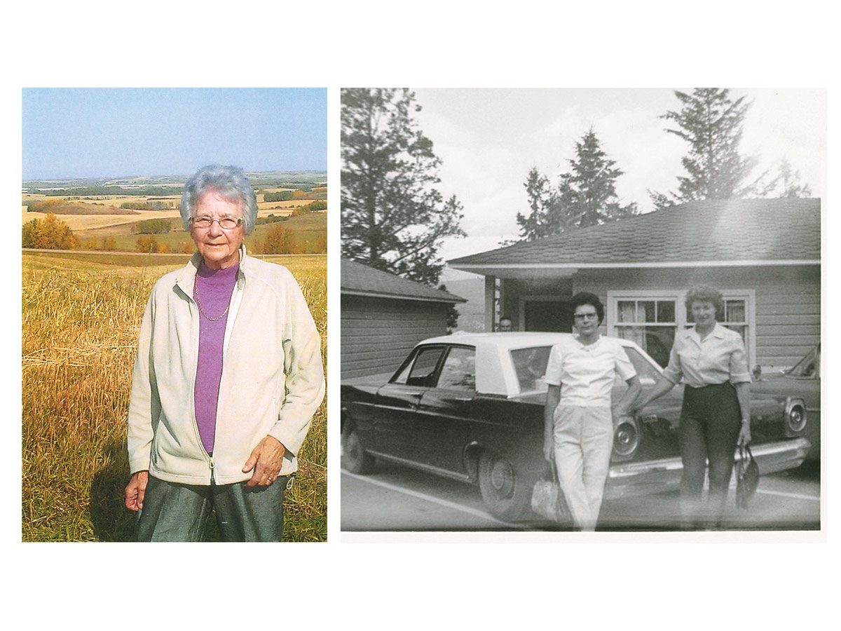 Left: Bonnie's mom Anne in later years, during harvest time. Right: Anne in 1966 with a friend.