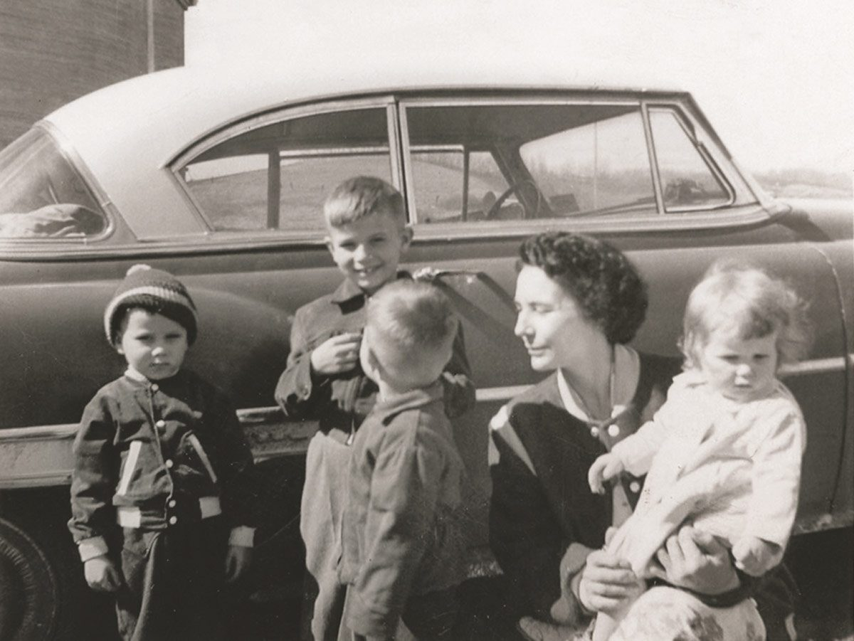 Anne in 1957 with her first four children (Bonnie was born in 1967).