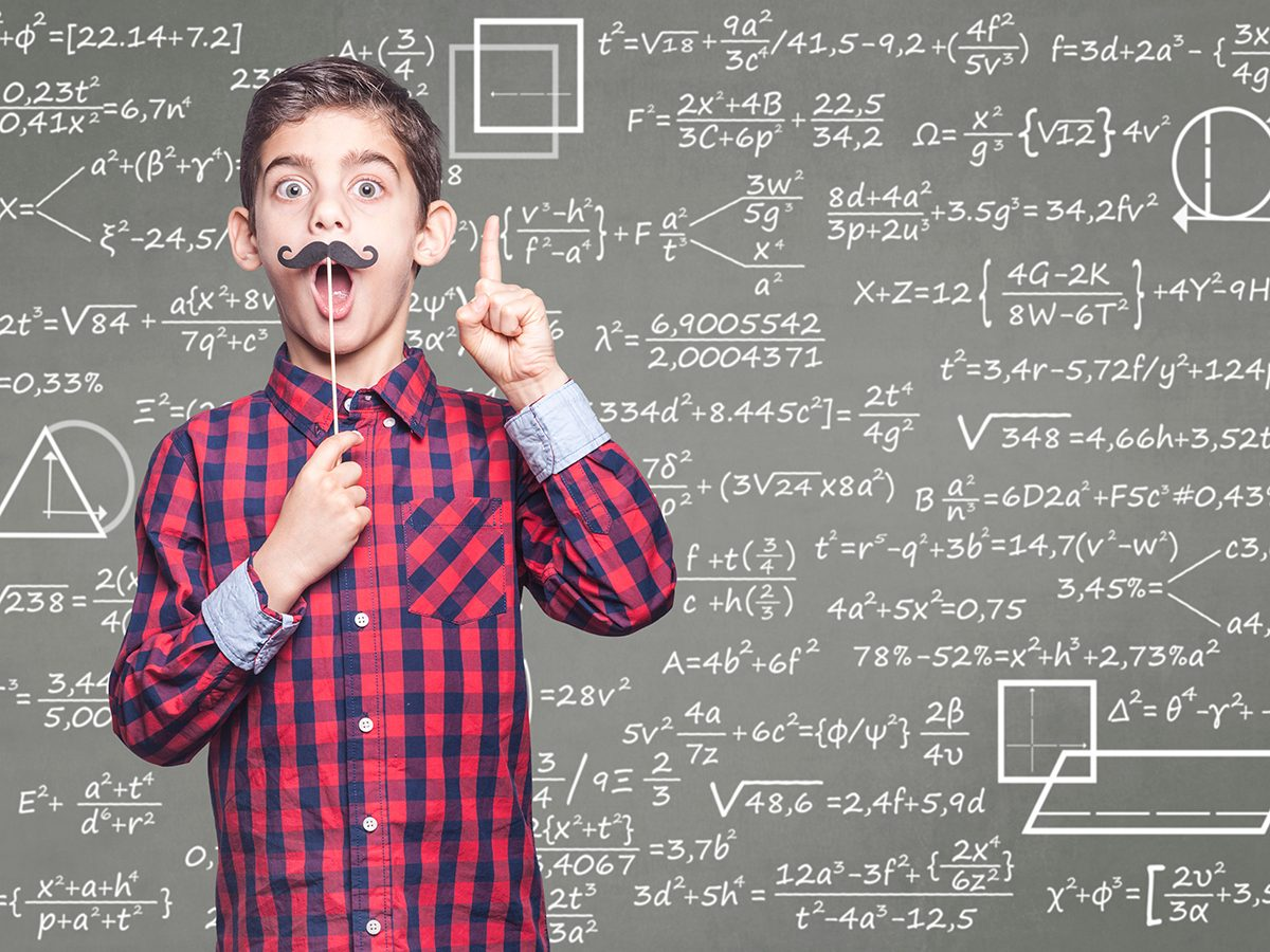 Pi jokes - funny boy in front of math equations