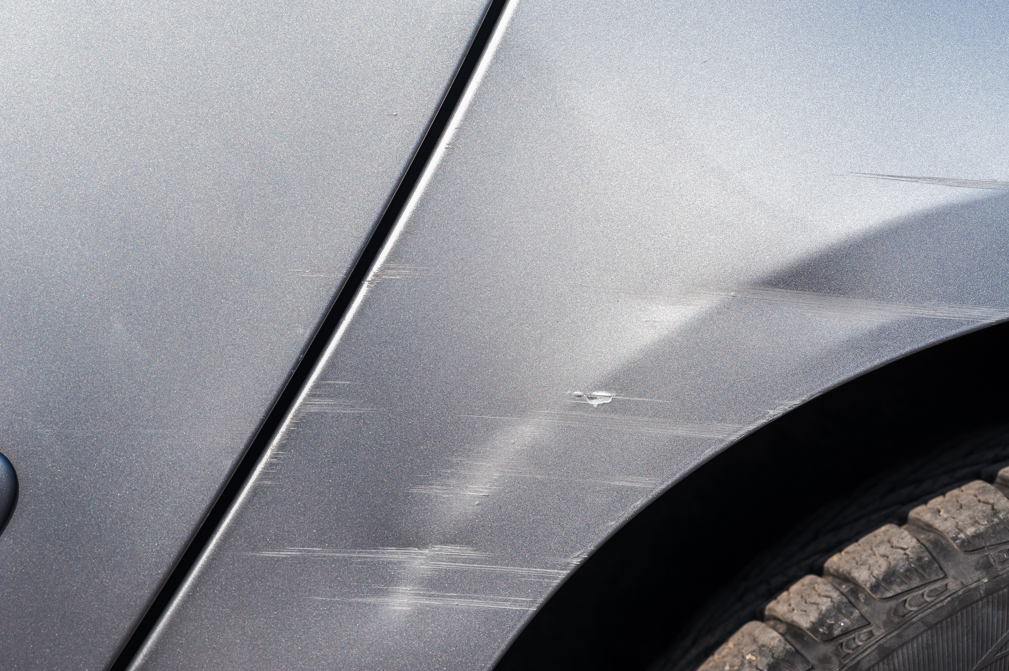 Car have scratched with deep damage to the paint