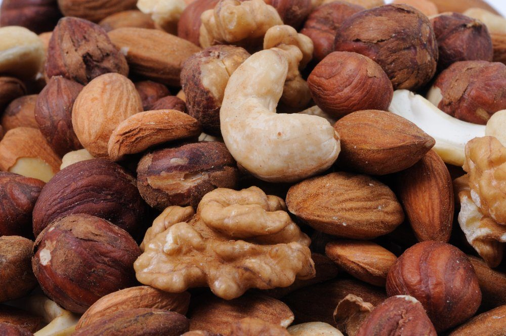Mix of nuts close-up. Front view.