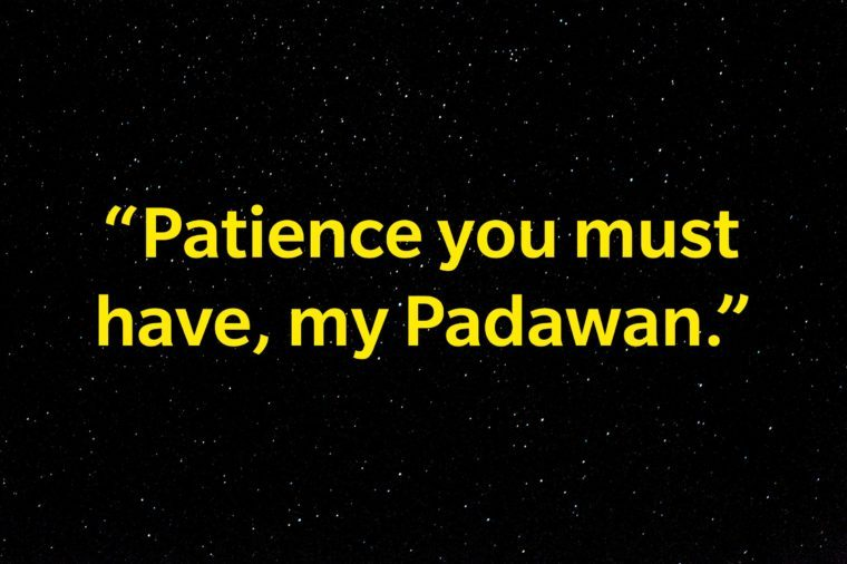 """Patience you must have, my Padawan."""