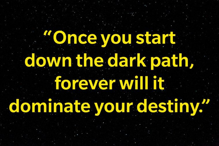 """Once you start down the dark path, forever will it dominate your destiny."""