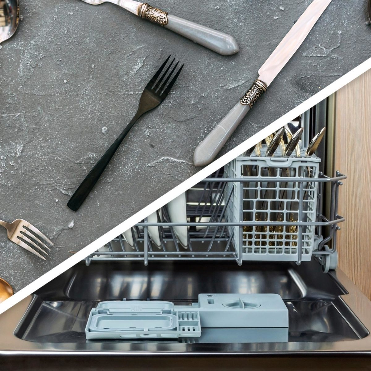 Silverware and dishwasher
