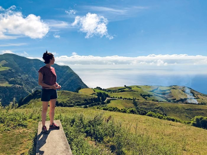 Sophie Kohn looking out over a lake in the Azores