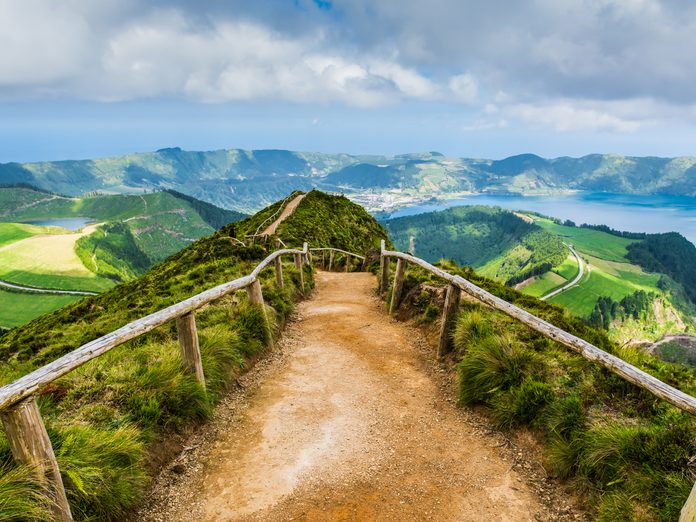 A path leading to lakes in the Azores
