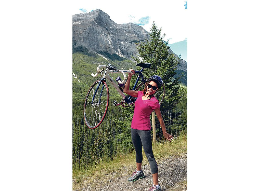 Verna Marzo biking Alberta's Legacy Trail in July 2016