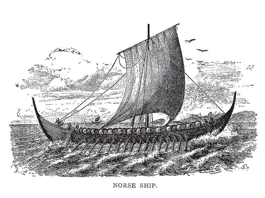 Sketch of a norse ship