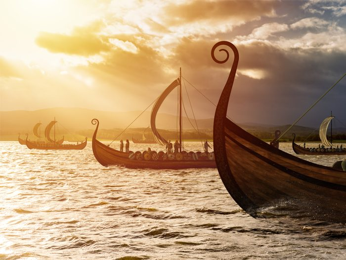 Viking ships on water