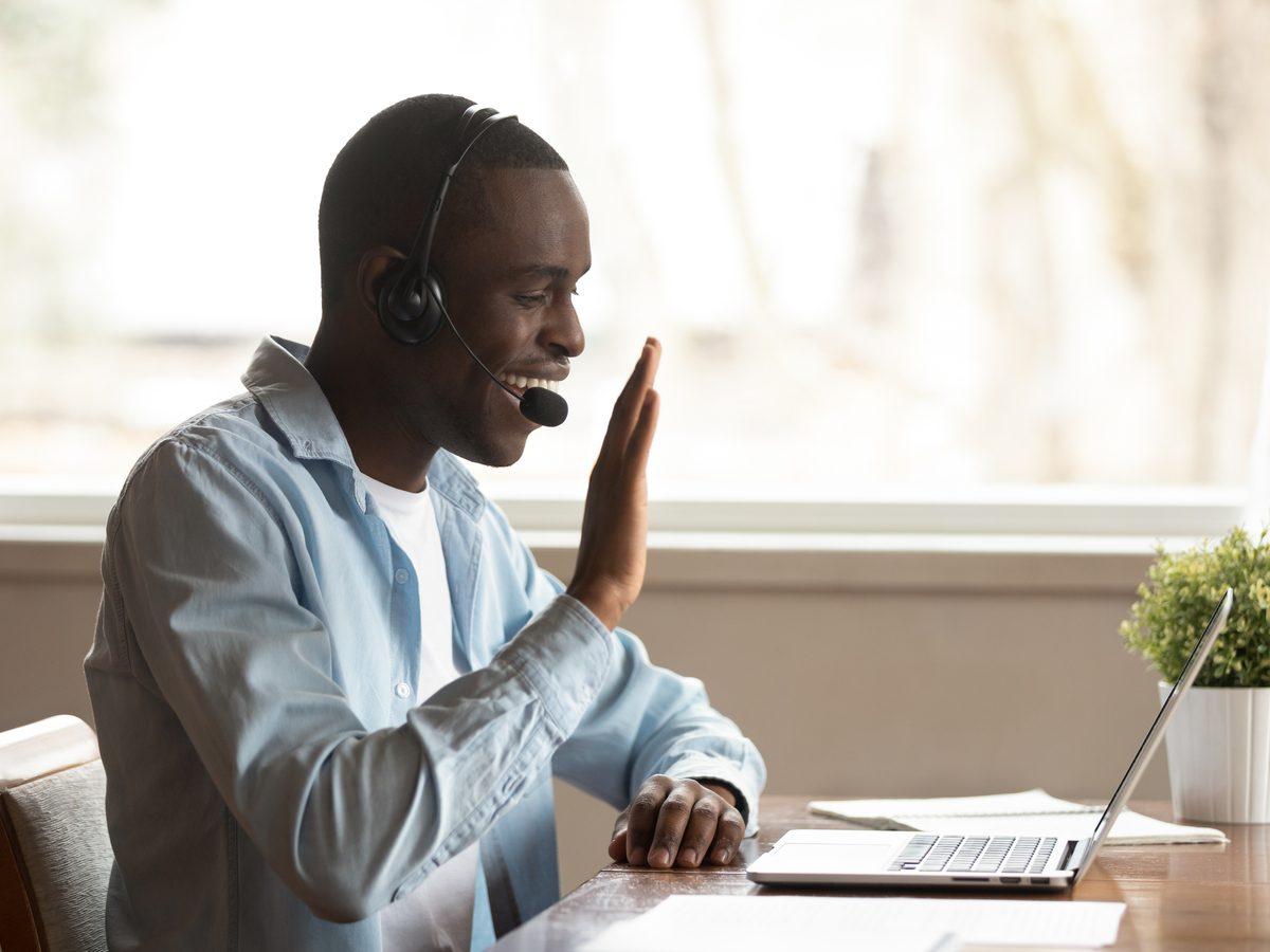 Man on conference call