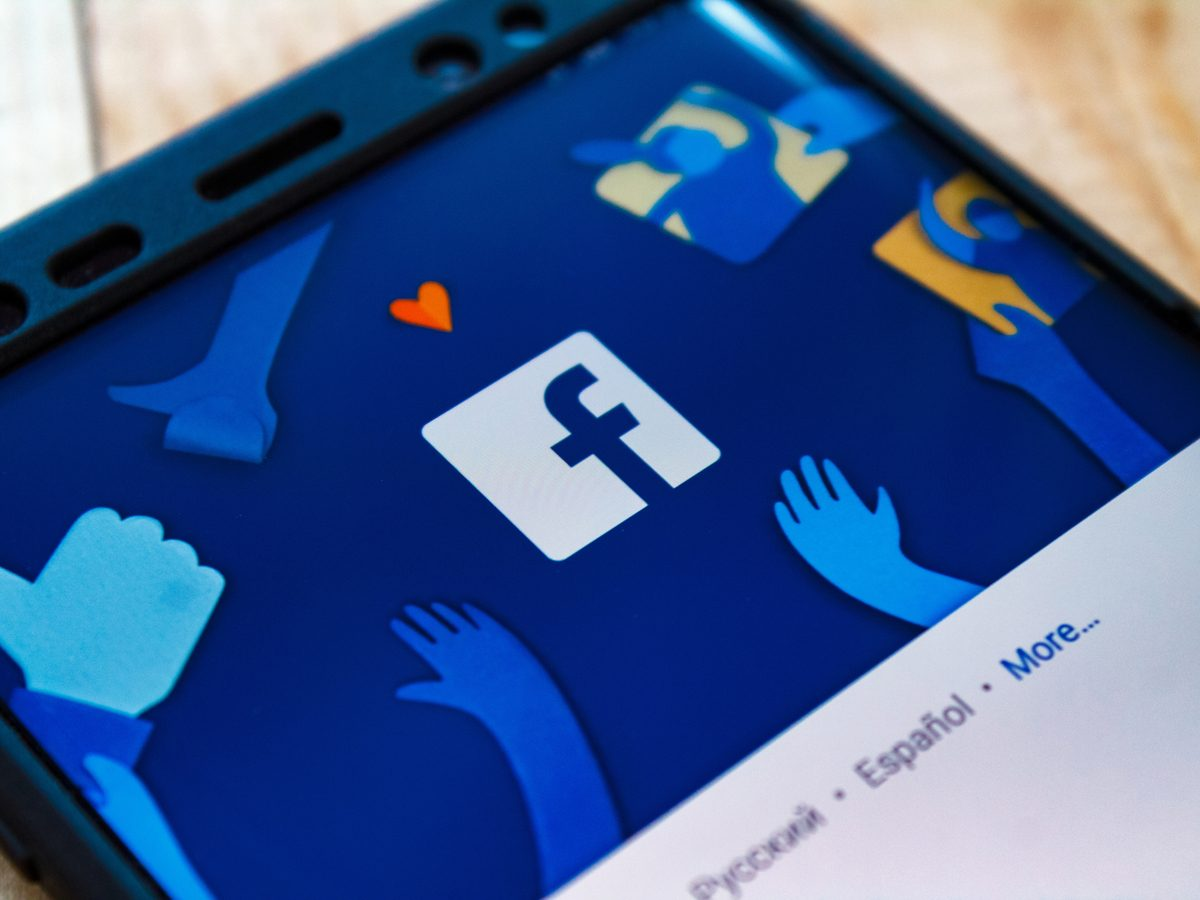 Facebook page on smartphone