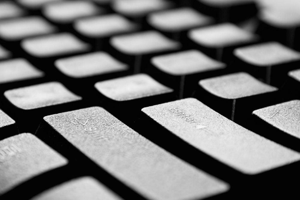 The black computer keyboard close up