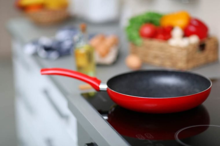 Empty frying pan on stove, closeup