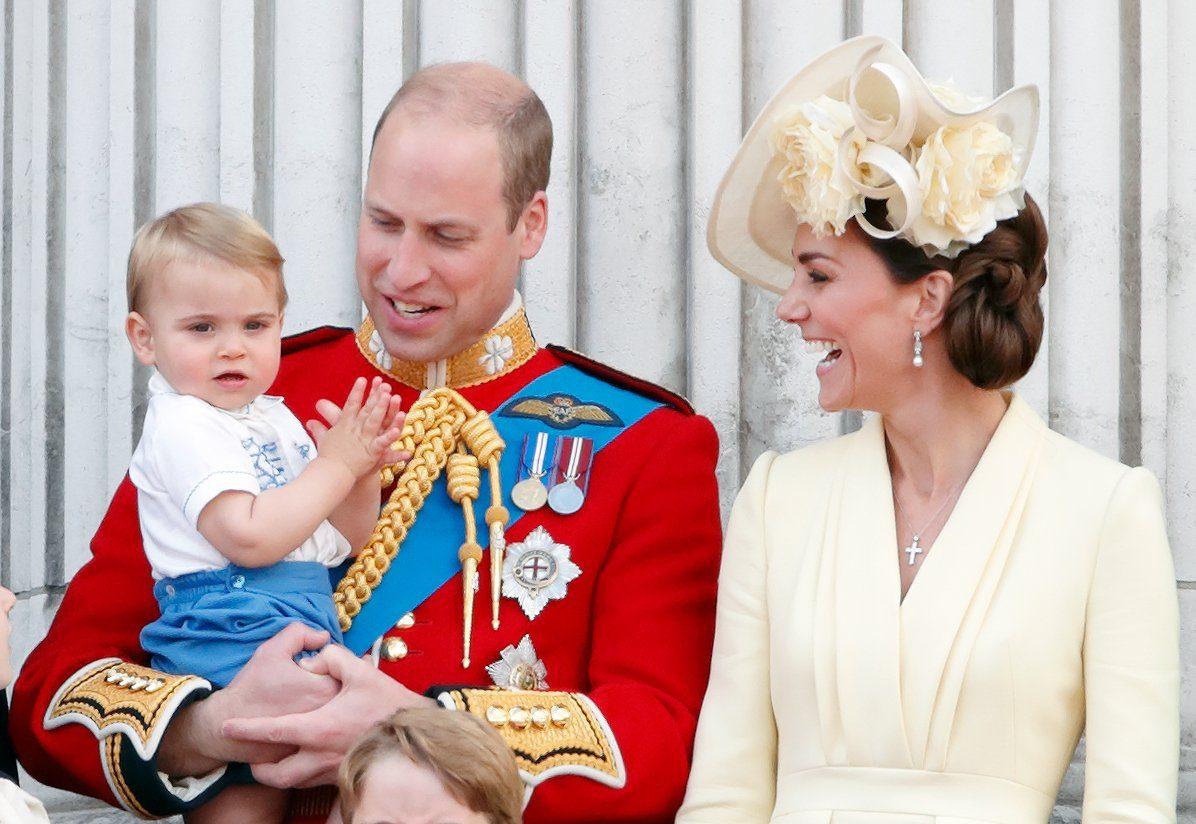 Prince William, Duke of Cambridge, Catherine, Duchess of Cambridge and Prince Louis of Cambridge