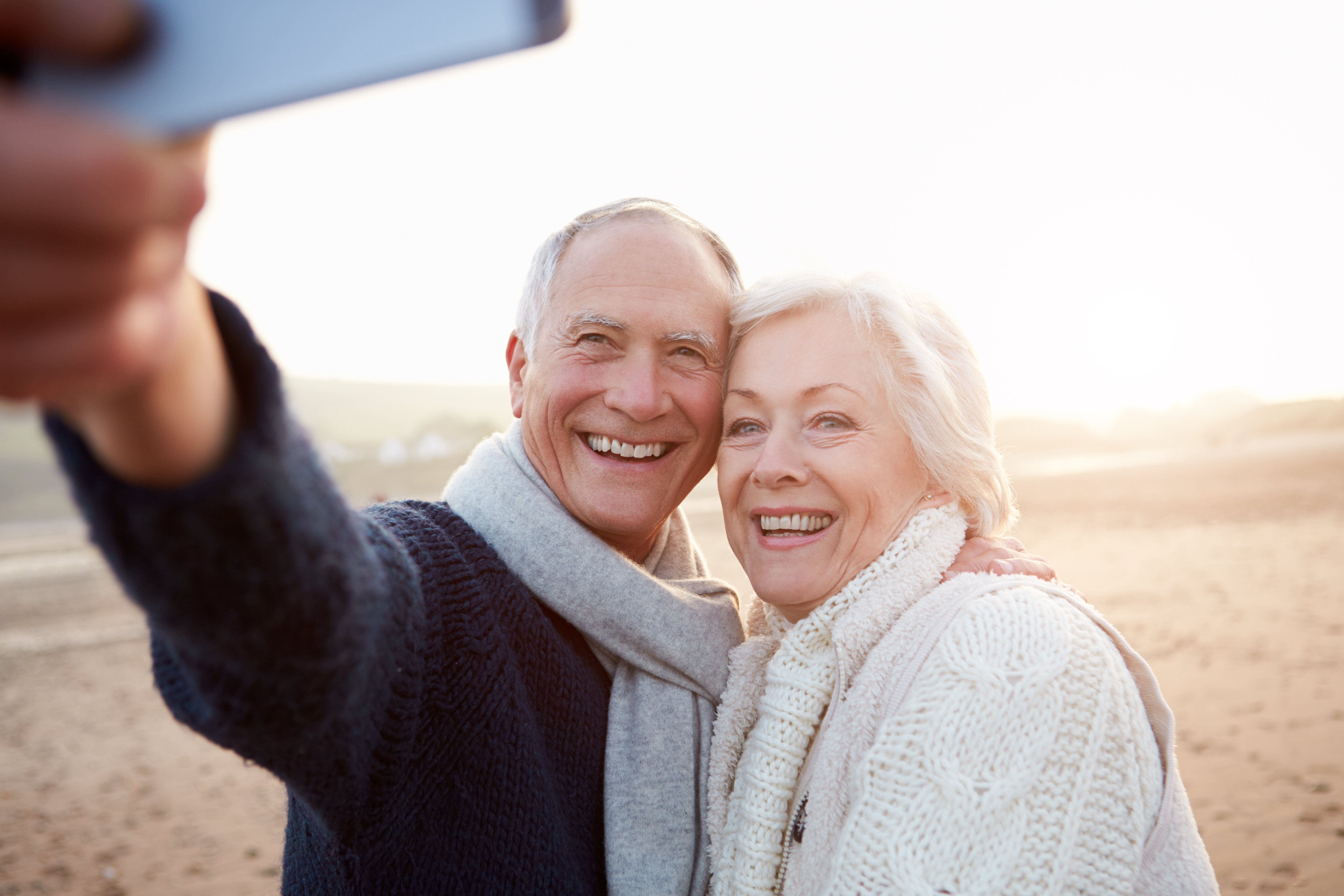 senior couple happy selfie instagram caption