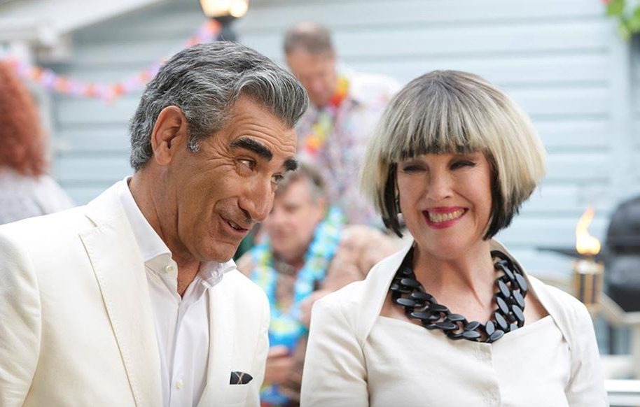 Best Schitt's Creek quotes - Johnny and Moira Rose in white