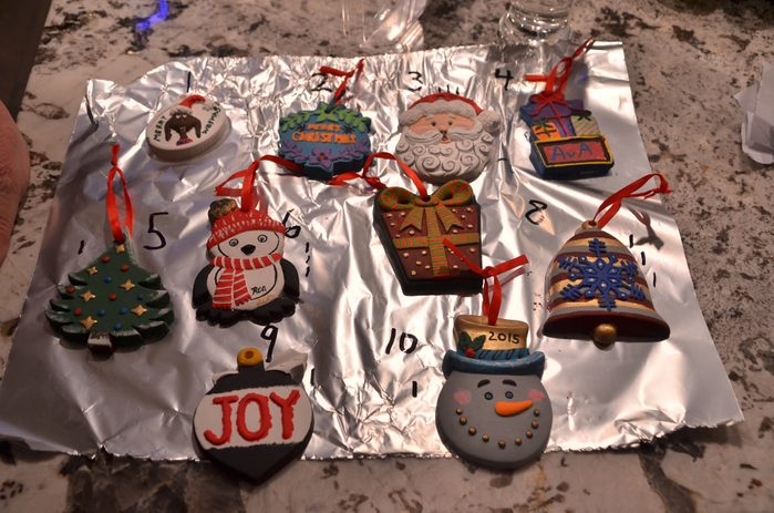 Christmas tree decorations laid out on a piece of foil
