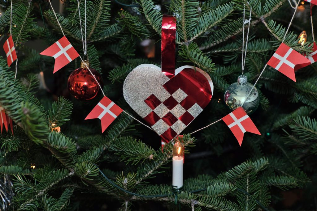 Hand-woven heart in a Christmas tree