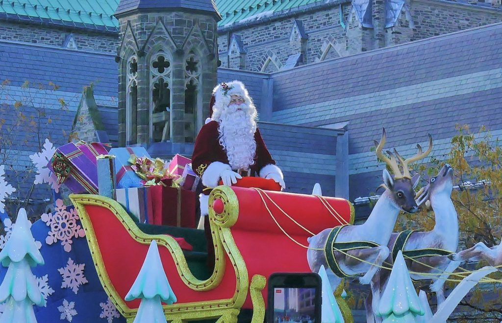 Santa Claus on a float in the Santa Claus parade