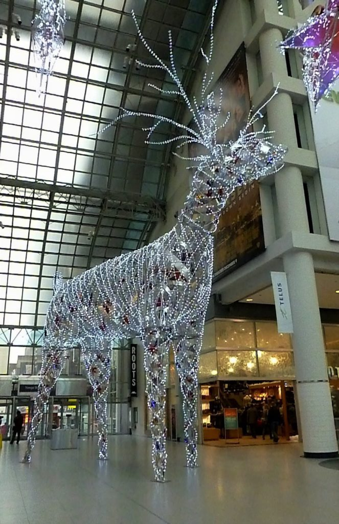 Silver reindeer structure in a mall