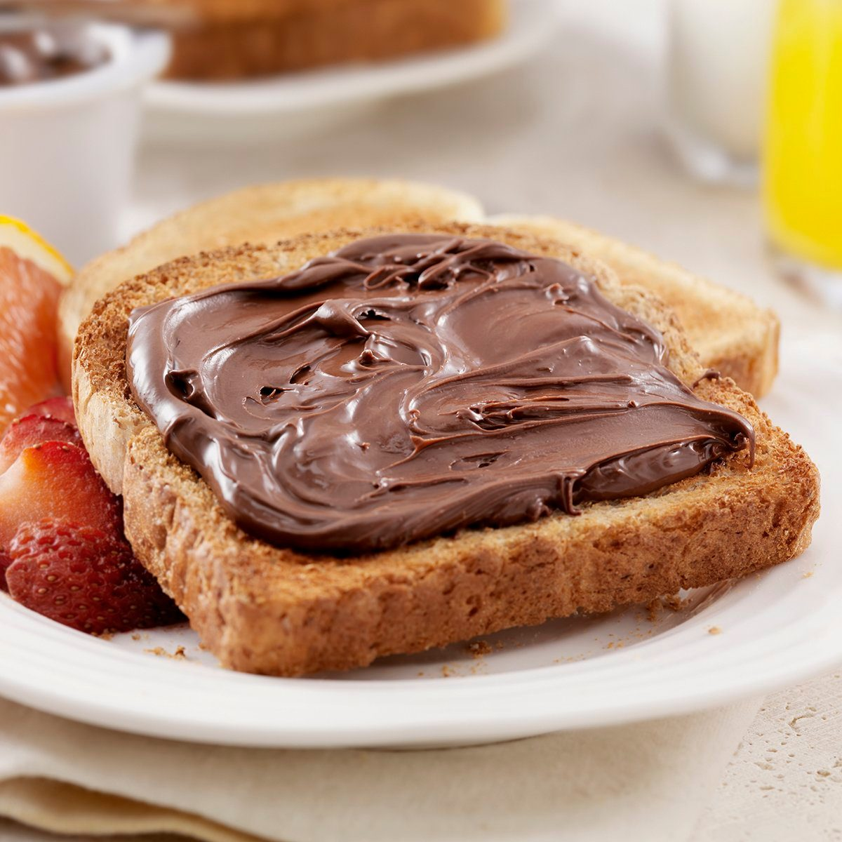 Chocolate Hazelnut Spread on Toast with Fresh Fruit- Photographed on Hasselblad H3D2-39mb Camera