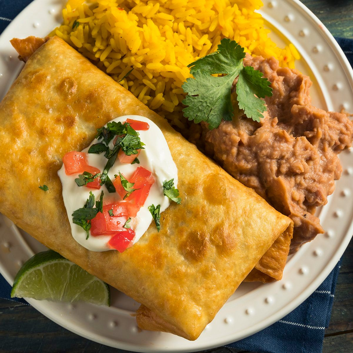 Deep Fried Beef Chimichanga Burrito with Rice and Beans