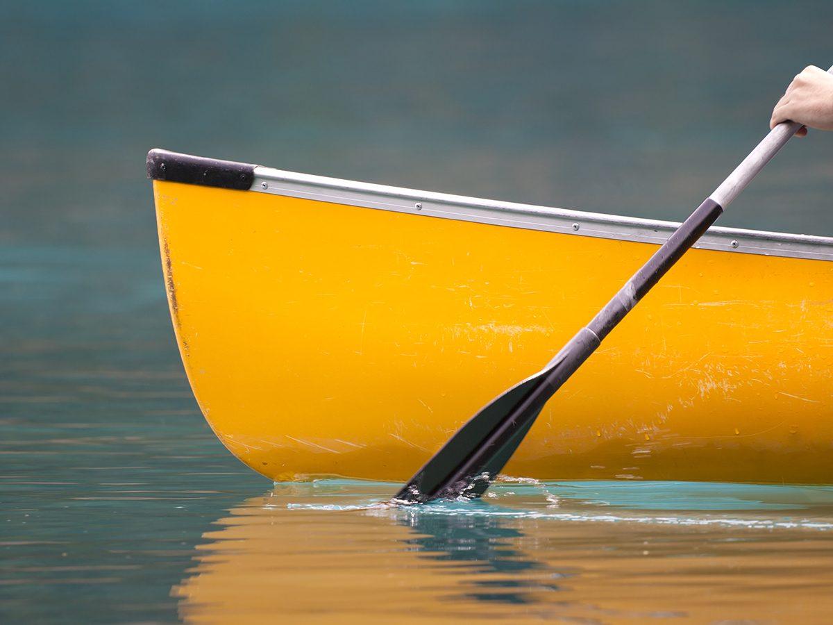 Family vacation - paddling canoe