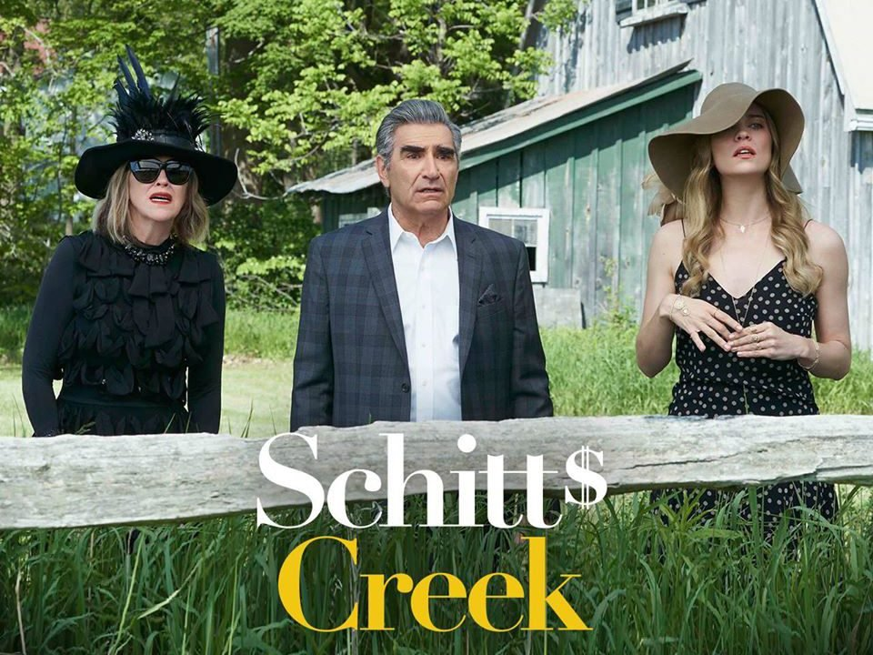 Funny Schitt's Creek quotes - Moira, Johnny and Alexis in a field
