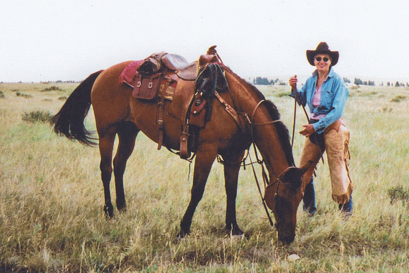 Janie (J.F.) and her beloved horse, Skookum Cat, in 1997