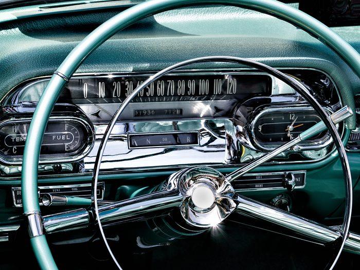 popular vintage car features - classic car interior