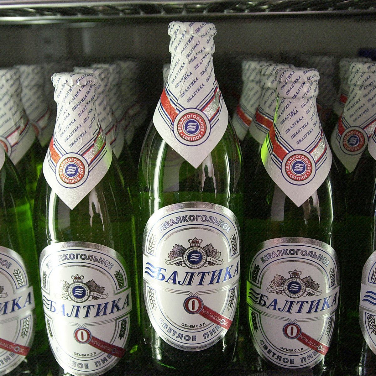 """390421 04: Russia''s new non-alcoholic beer, """"Baltika No. 0,"""" which has been selling remarkably fast since its February 28, 2001 release date, is seen at the Baltika brewery in St. Petersburg, Russia. Brewed in the nation''s largest brewery by the Swedish-Finnish firm Baltika, some say the surge in it''s popularity is due to it being seen as a """"healthy"""" alternative to vodka. (Photo by Scott Peterson/Getty Images)"""