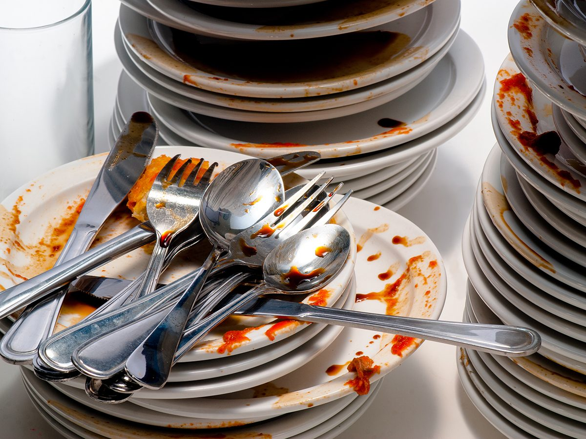 Close Up of dirty dishes.