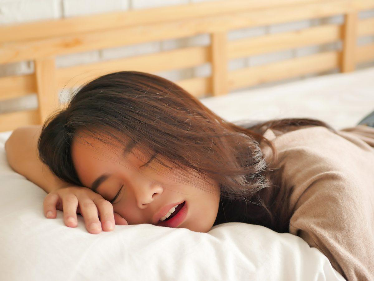 Asian woman snoring