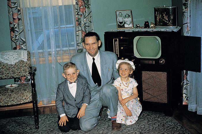 first television set vintage photo