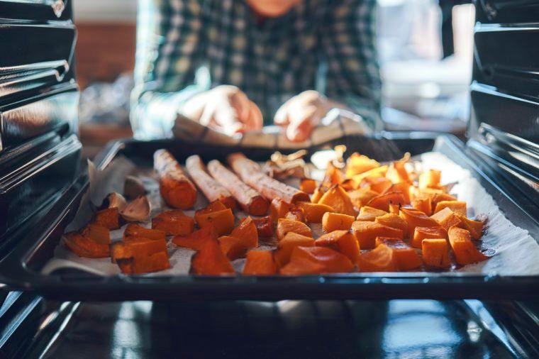 Roasting sweet potatoes