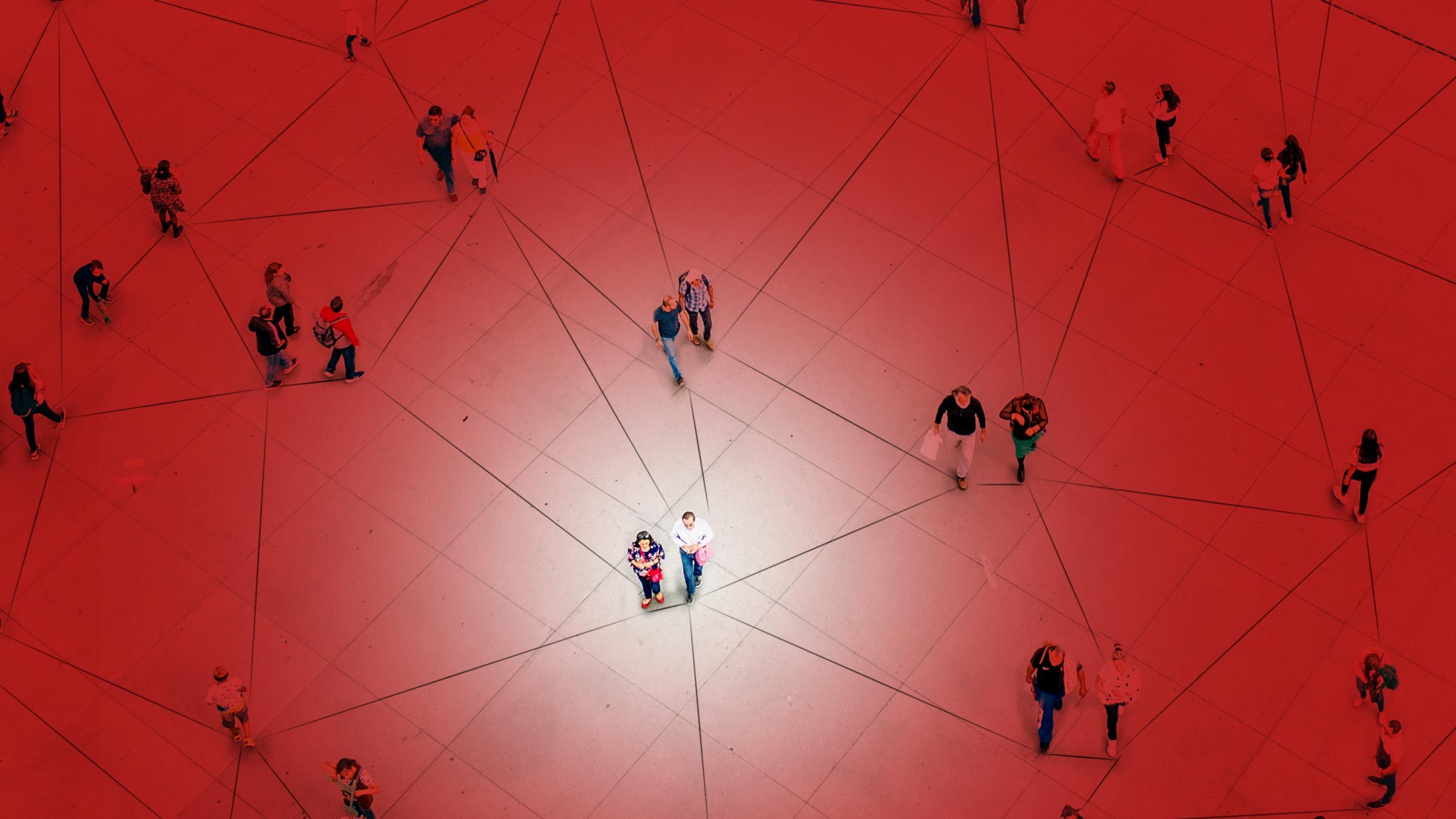 overhead view of people. connected by lines. red overlay.