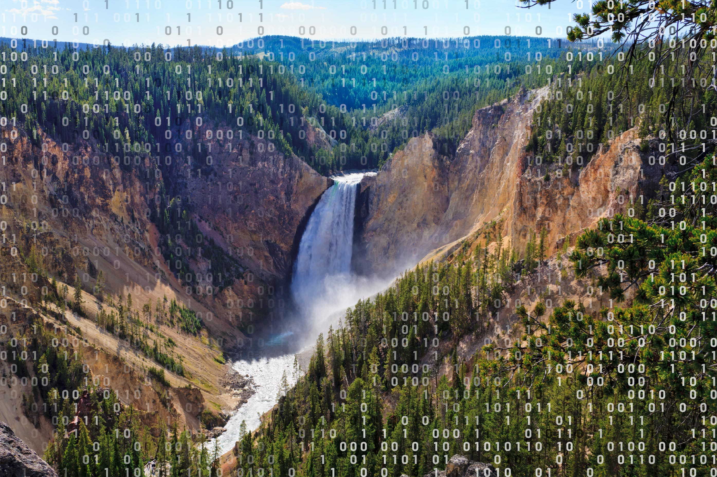 yellowstone grand canyon waterfall with computer code overlay