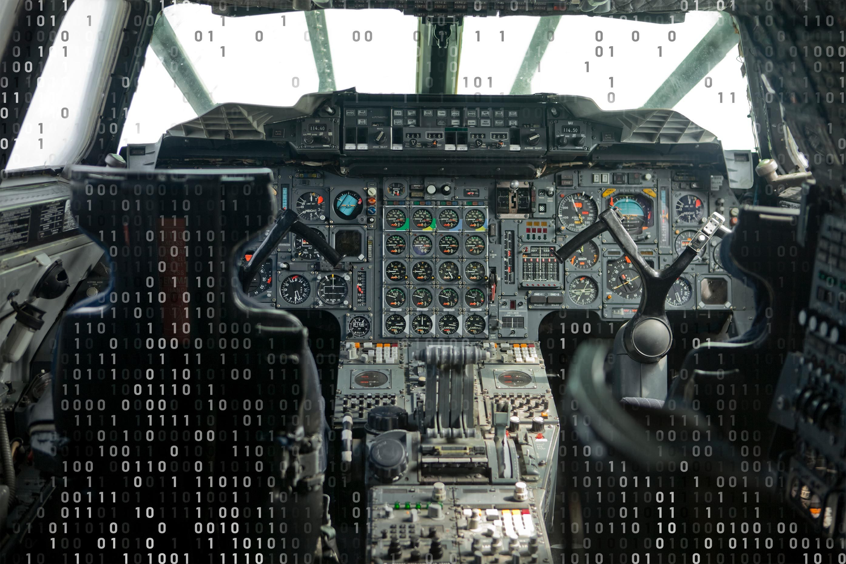 cockpit of the concorde with computer code overlay