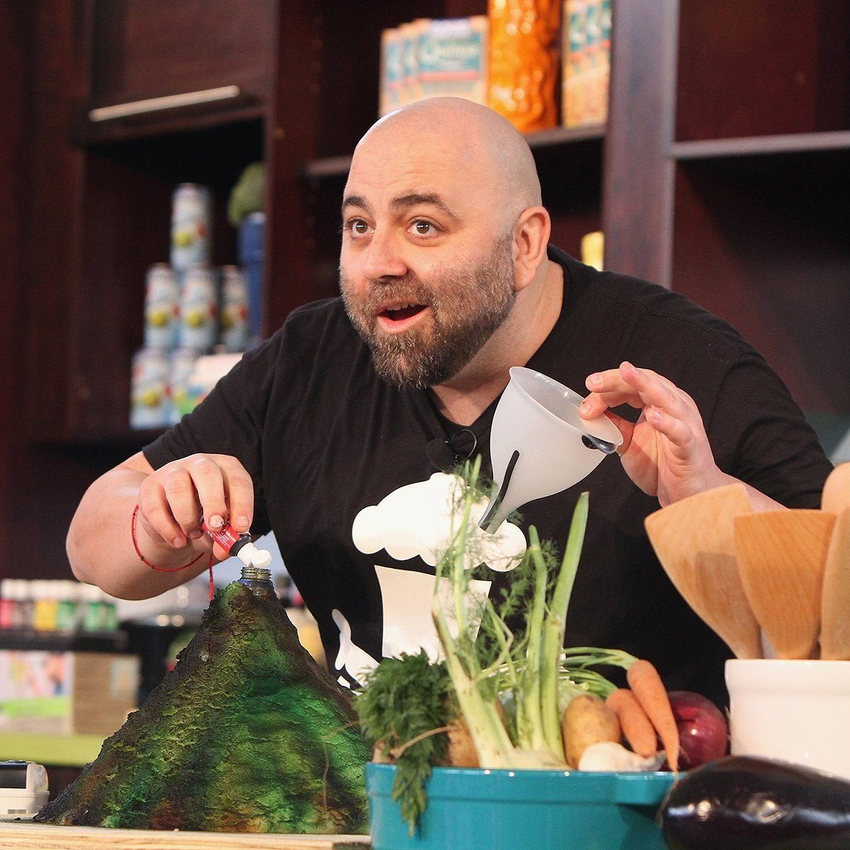 MIAMI, FL - FEBRUARY 21: Chef Duff Goldman prepares food at Fun and Fit as a Family sponsored by Carnival featuring Goya Kidz Kitchen during the 2015 Food Network & Cooking Channel South Beach Wine & Food Festival presented by FOOD & WINE at Jungle Island on February 21, 2015 in Miami, Florida. (Photo by John Parra/Getty Images For SOBEWFF)