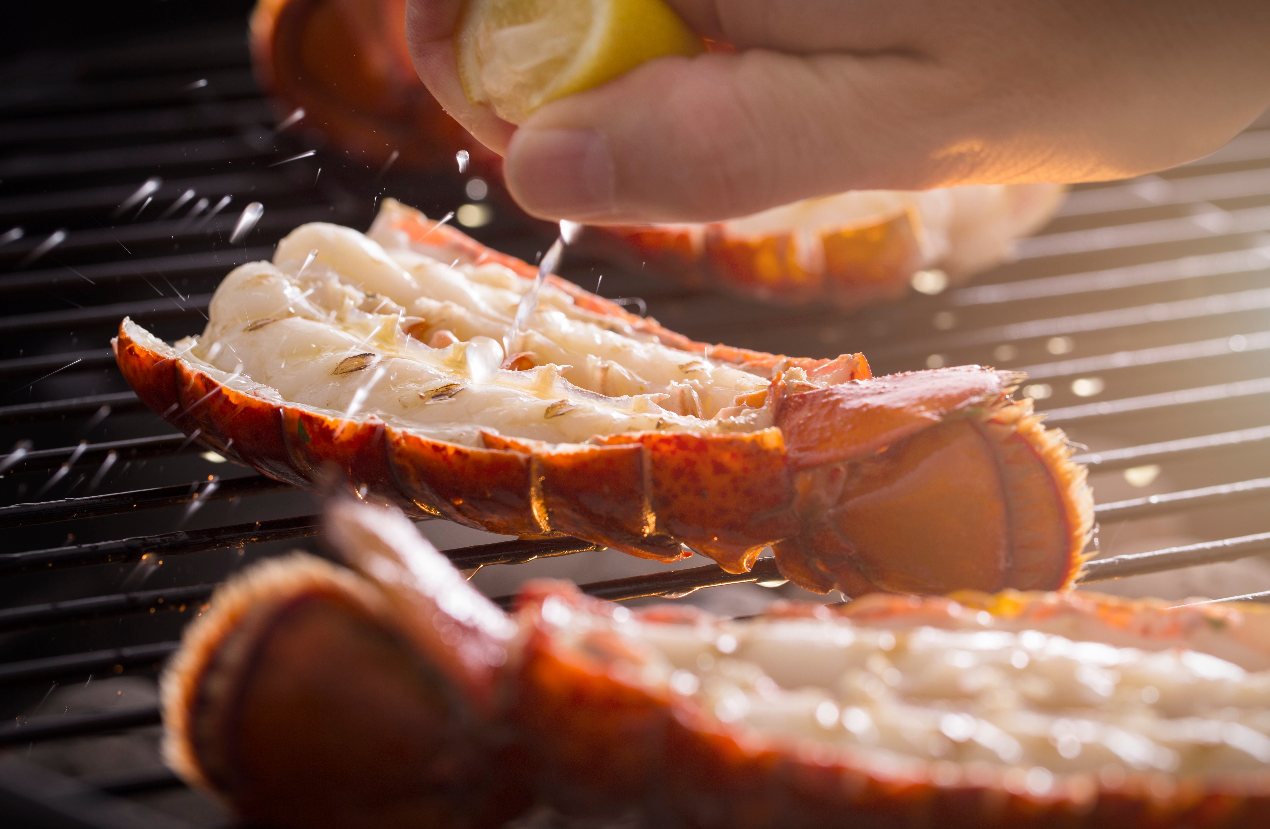 Grilled Lobster Tail on the Grill with Lemon